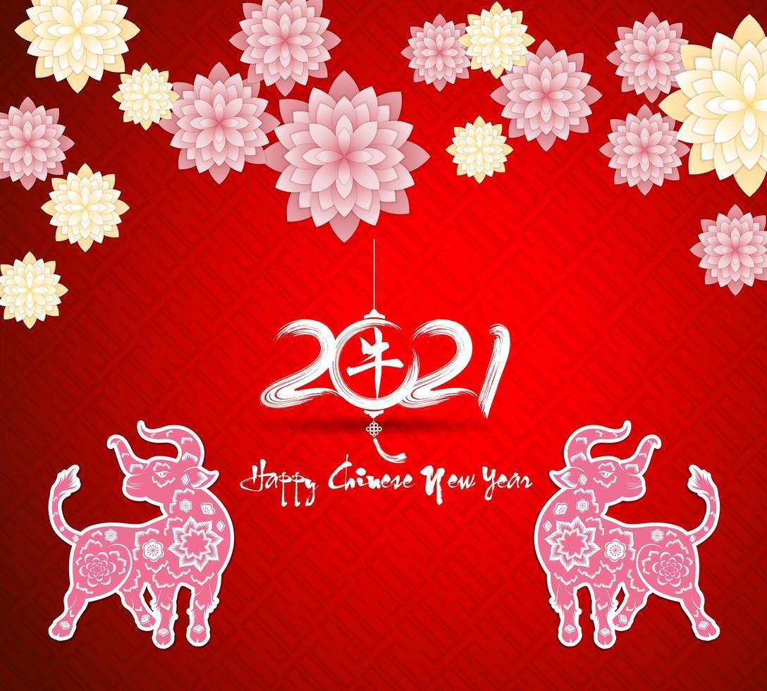 Chinees Nieuwjaar 2021 groet op rood vector