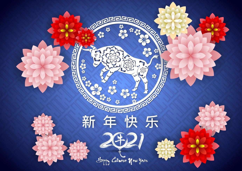 Chinees Nieuwjaar 2021 blauwe poster vector