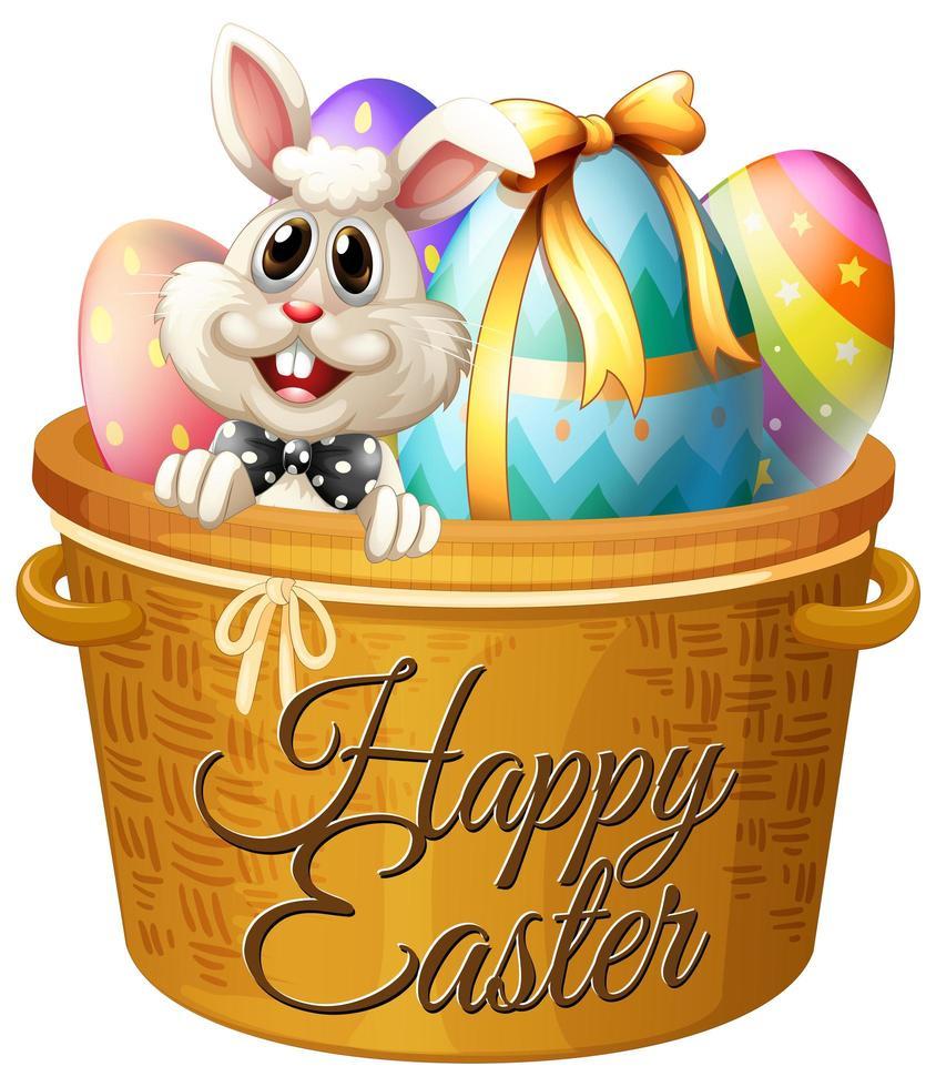 vrolijk Pasen groet op paasmandje vector