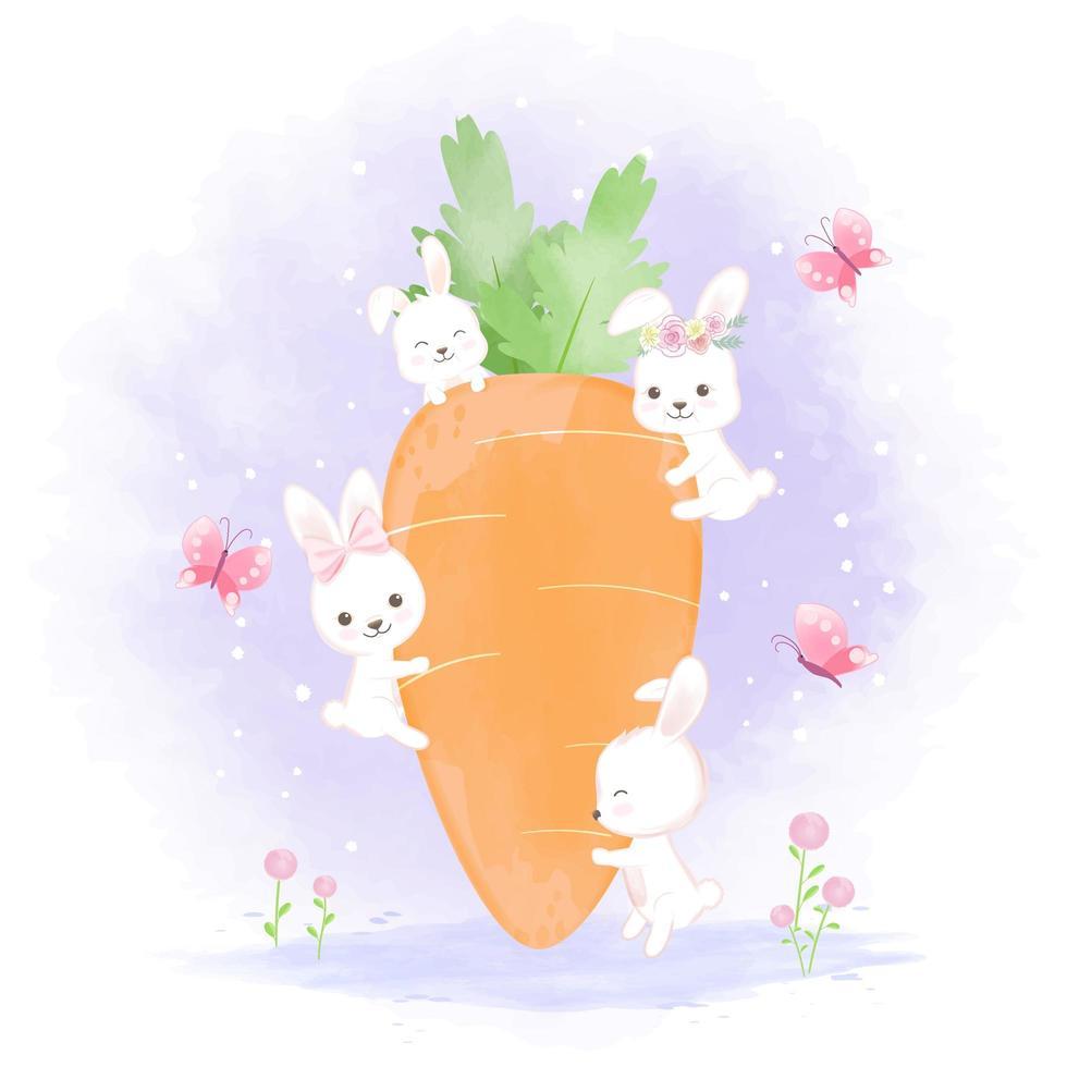 groep konijnen met wortel vector