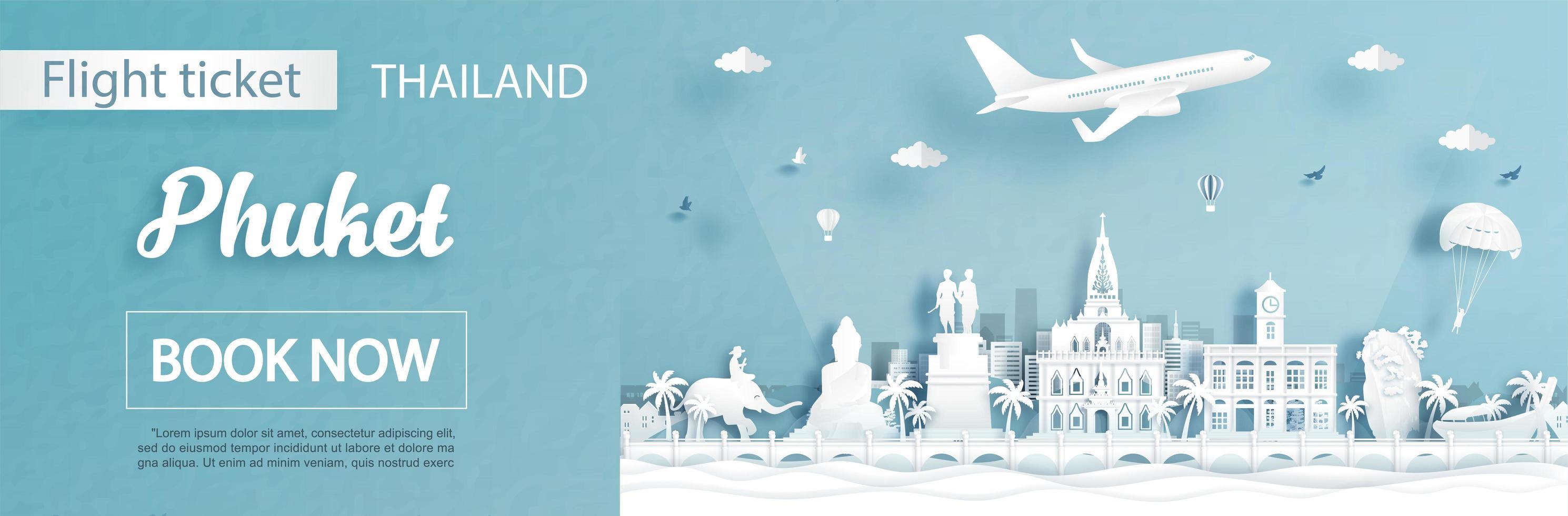 advertentiesjabloon voor reizen naar Phuket, Thailand vector