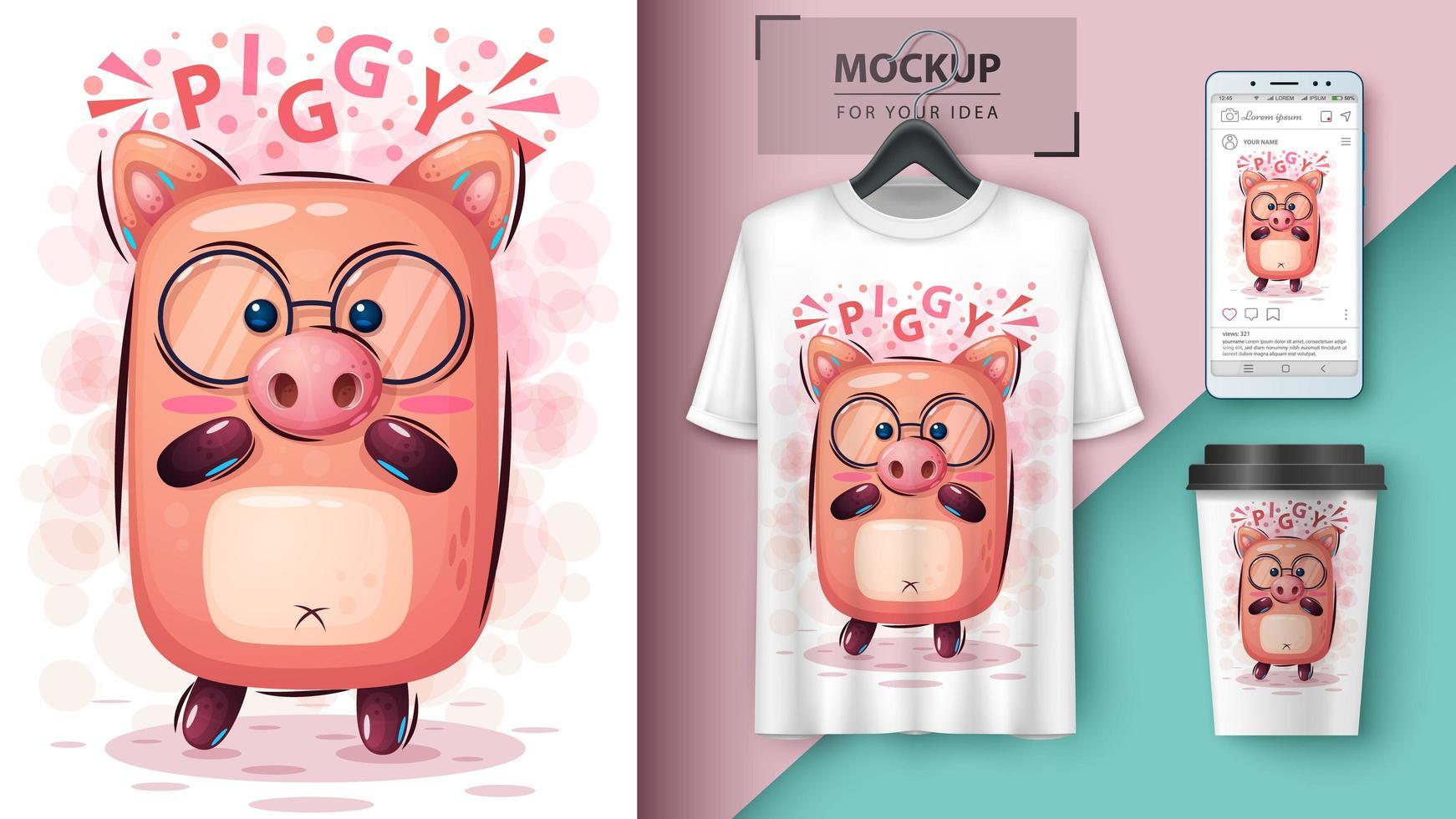 cartoon piggy met glazen ontwerp vector