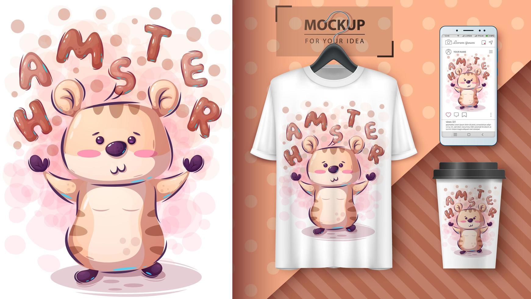 schattige hamsterposter en merchandising vector