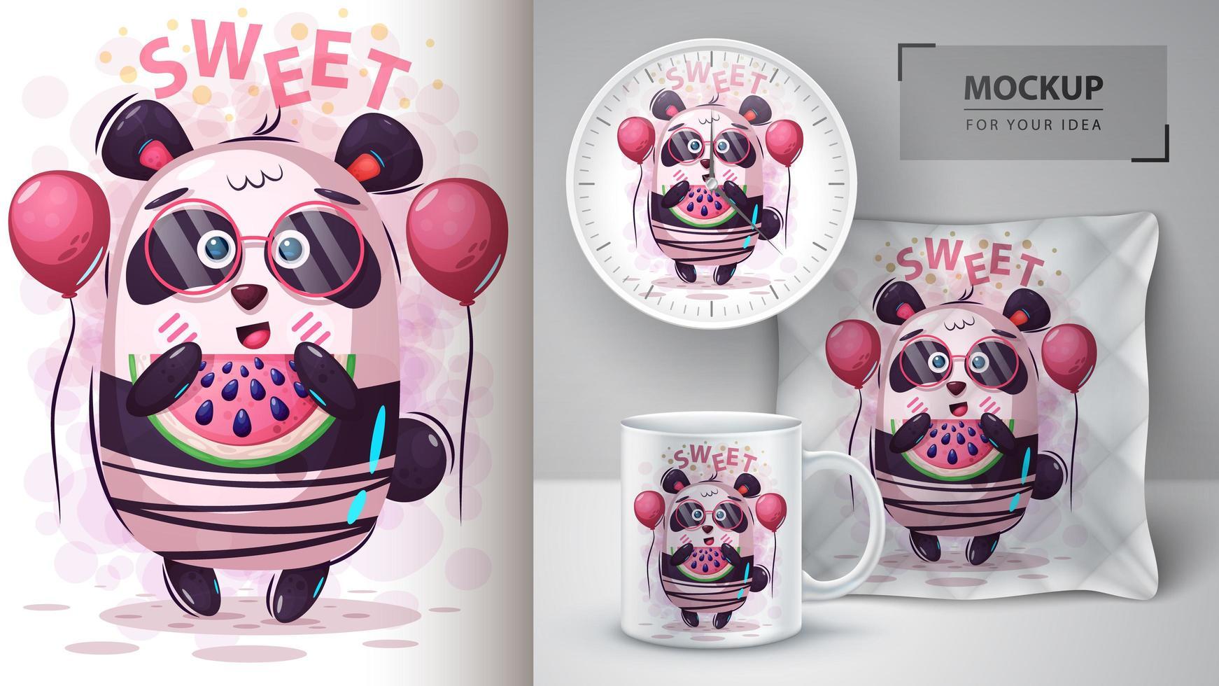 zoete panda met watermeloenkarakter vector