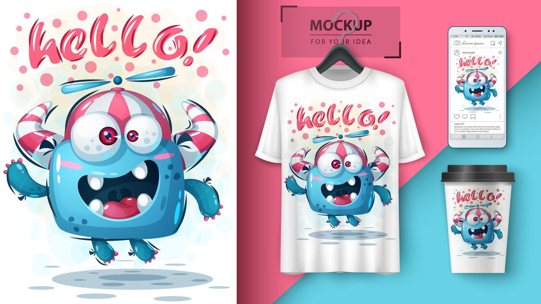 gek monster hallo ontwerp met mock up vector