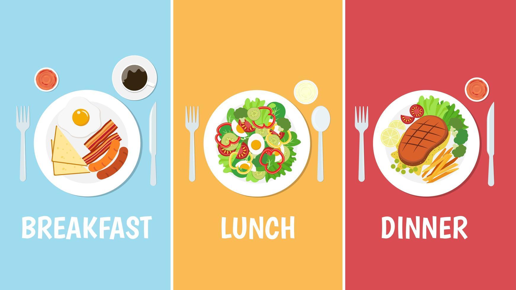 ontbijt, lunch en diner set vector