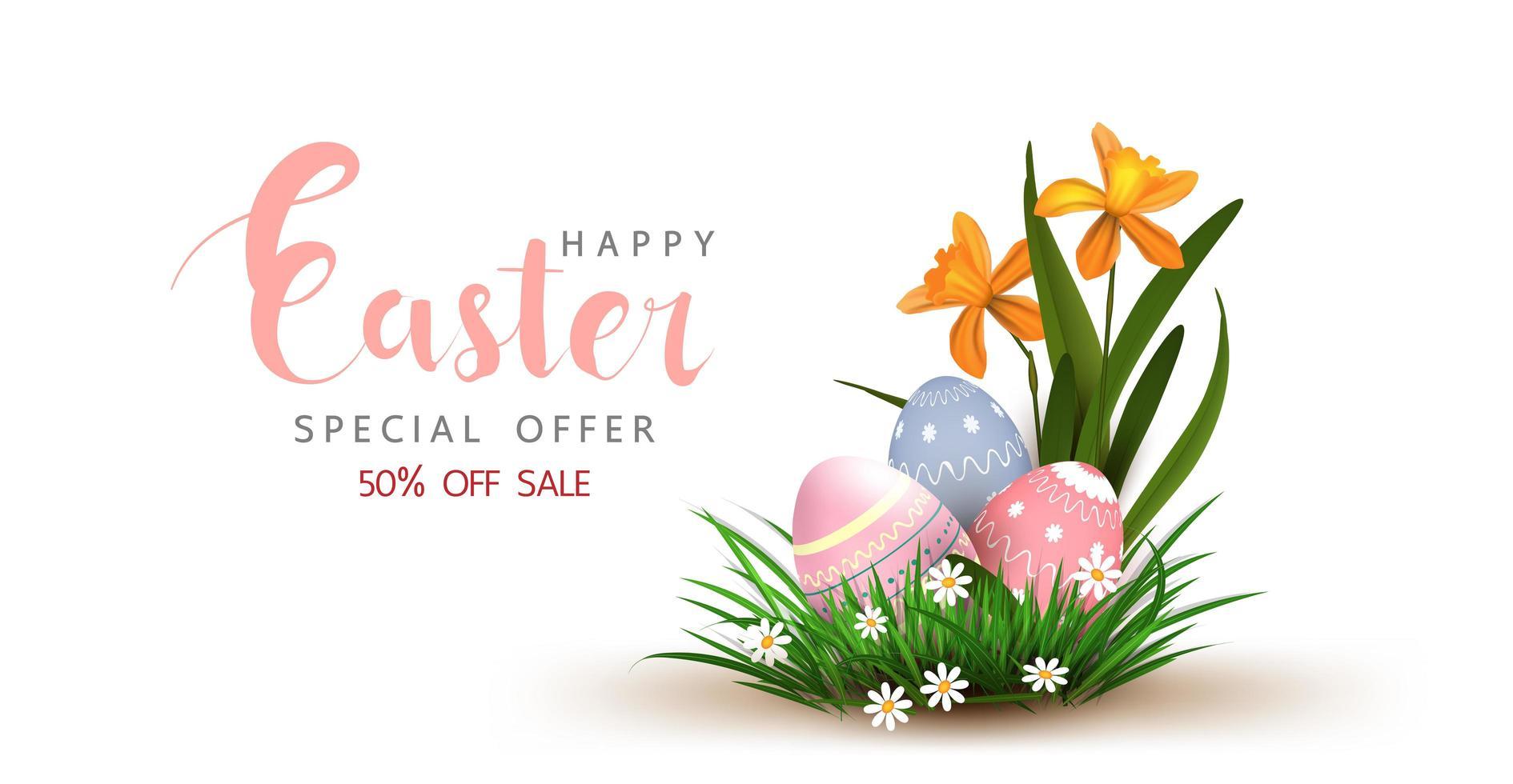 Pasen-verkoopaffiche met eieren in gras vector