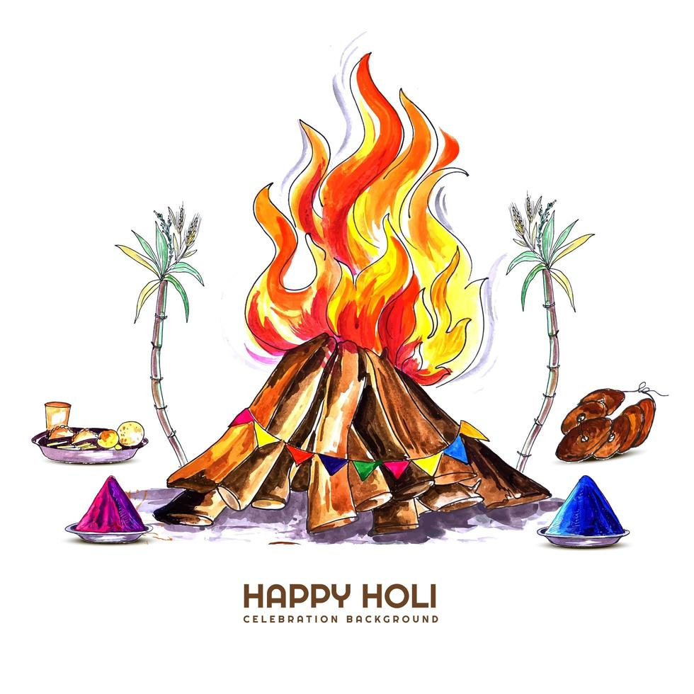 Holika Dahan viering kaart met holi elementen vector