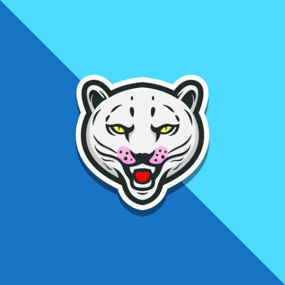 witte tijgerkop op blauw vector