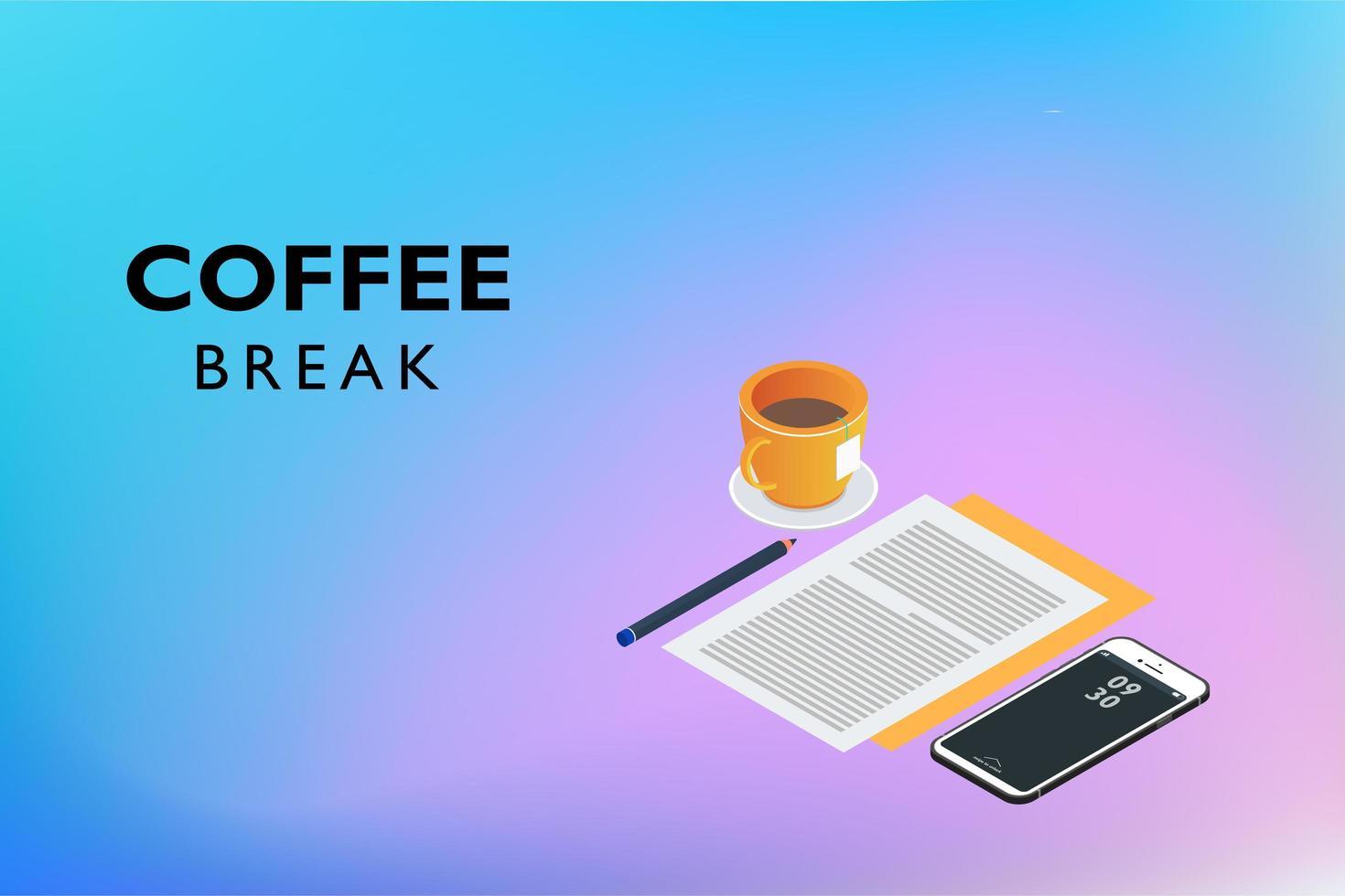 koffiepauze plat isometrisch vector