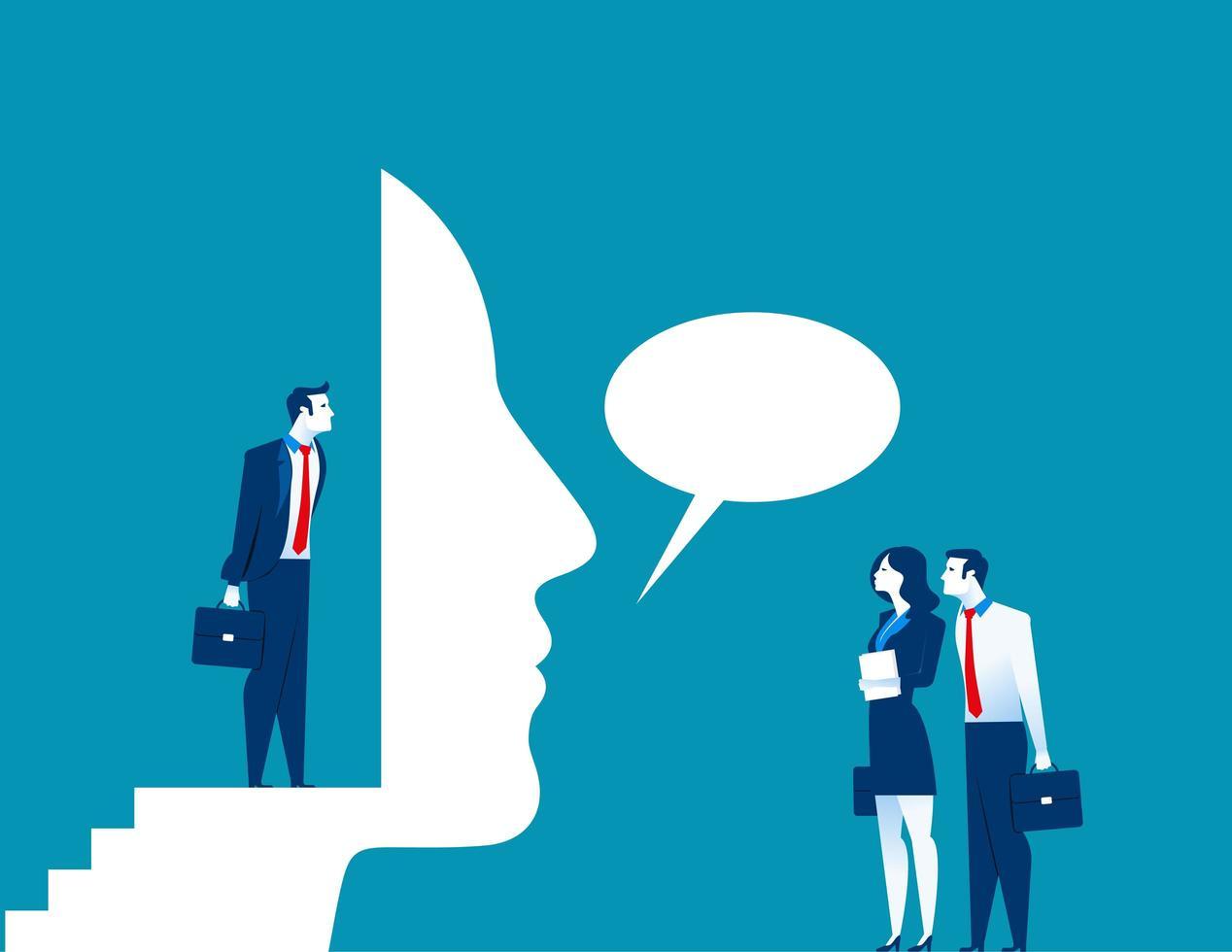 zakenman praten door masker vector
