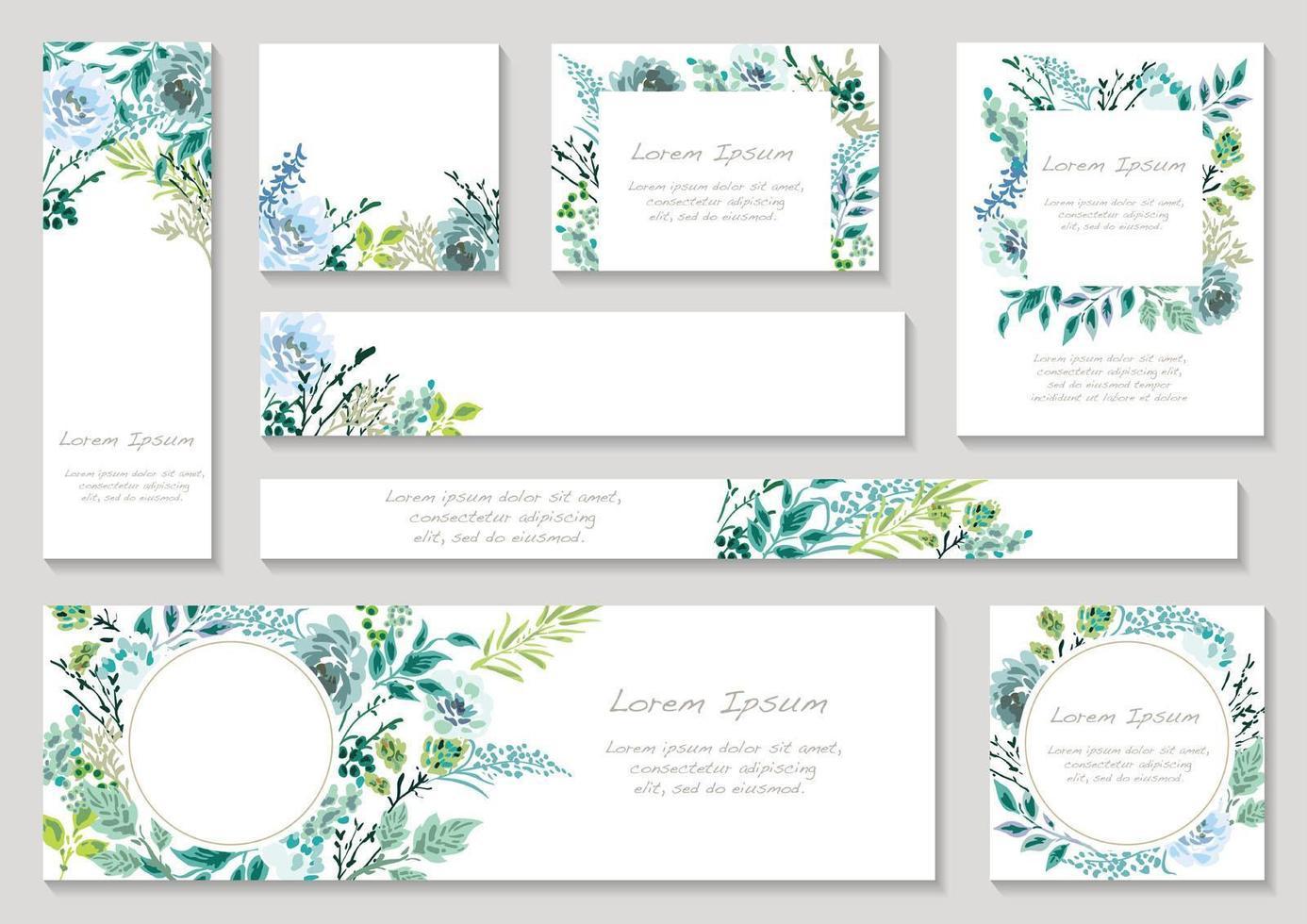 set blauwe getinte bloemenkaarten met tekstruimte vector