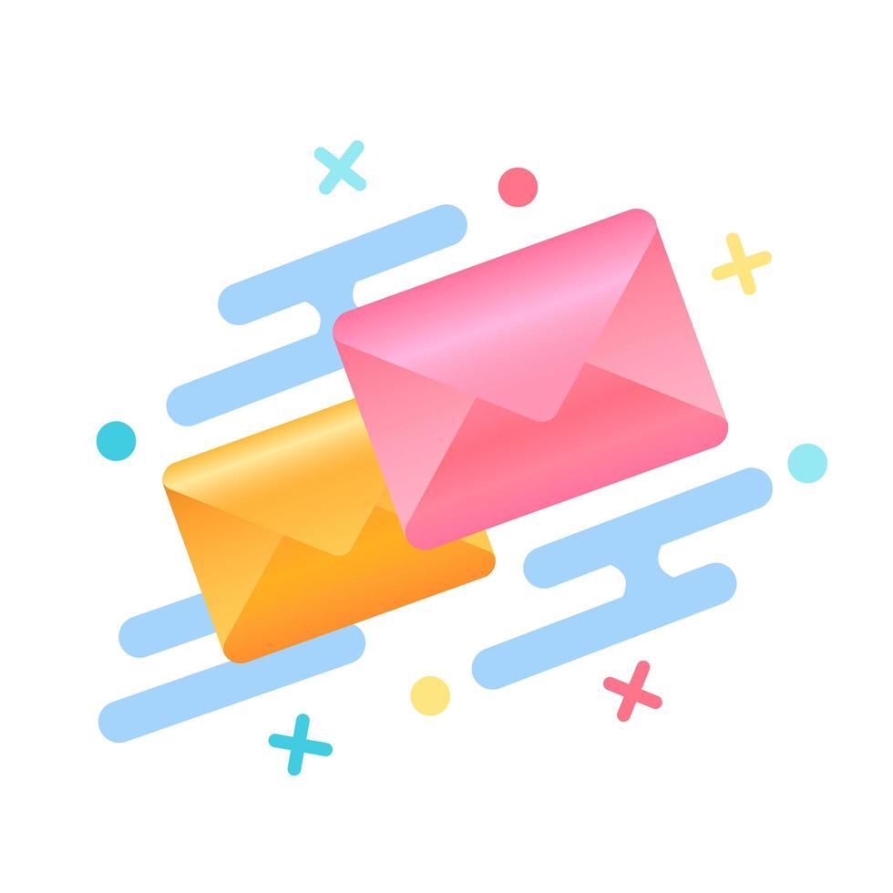 kleurrijke enveloppen omringd door geometrische vormen vector