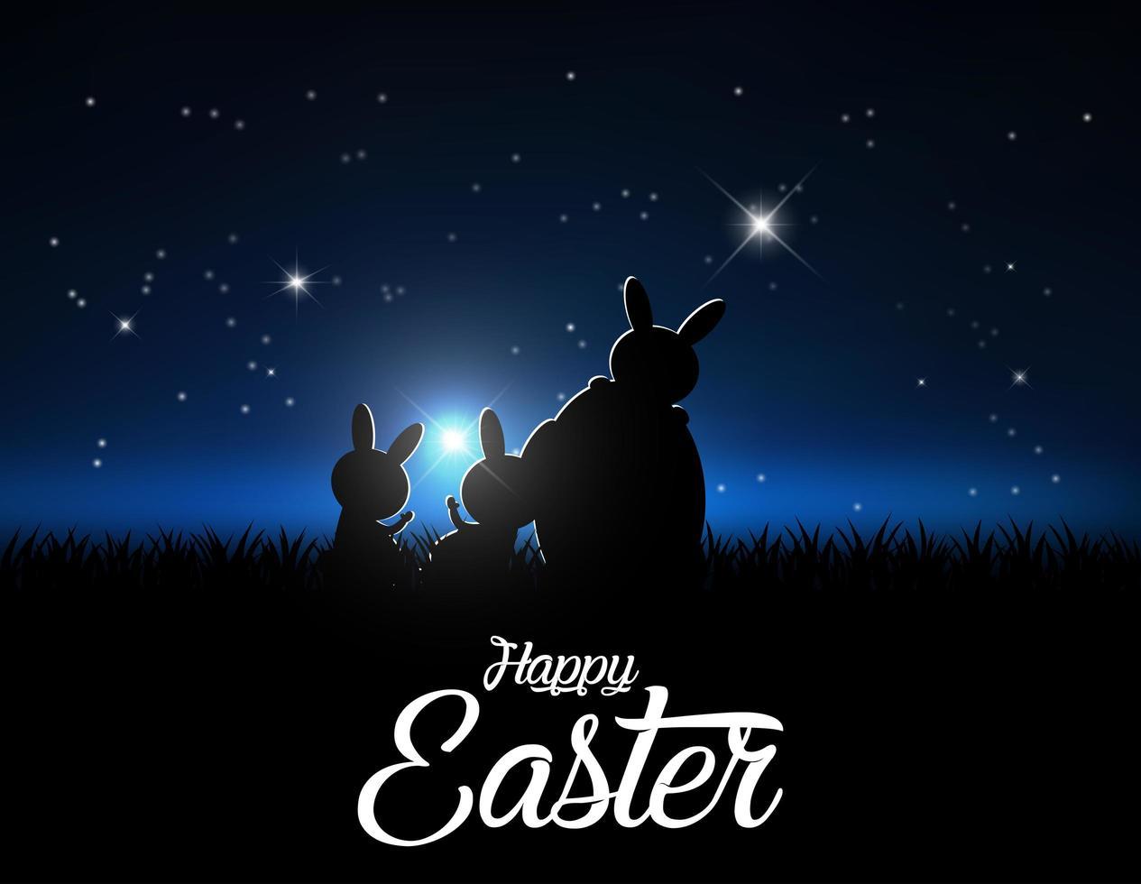 silhouetten van konijnen tegen een maanlichthemel vector