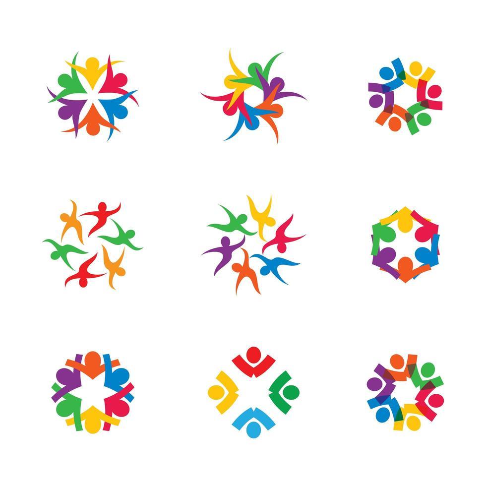 zakelijke teamwerk ingesteld met kleurrijke verbonden mensen vector