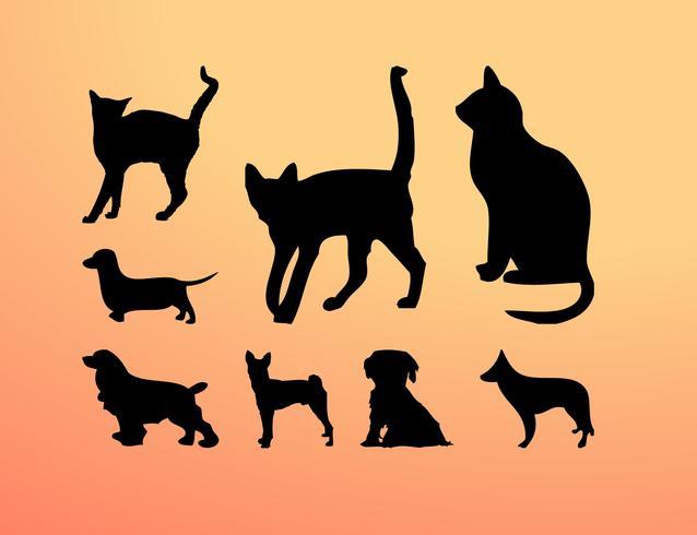 Katten en honden silhouetten vector