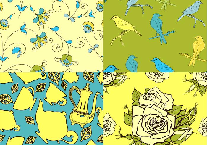 Teatime Bird and Floral Vector Patterns