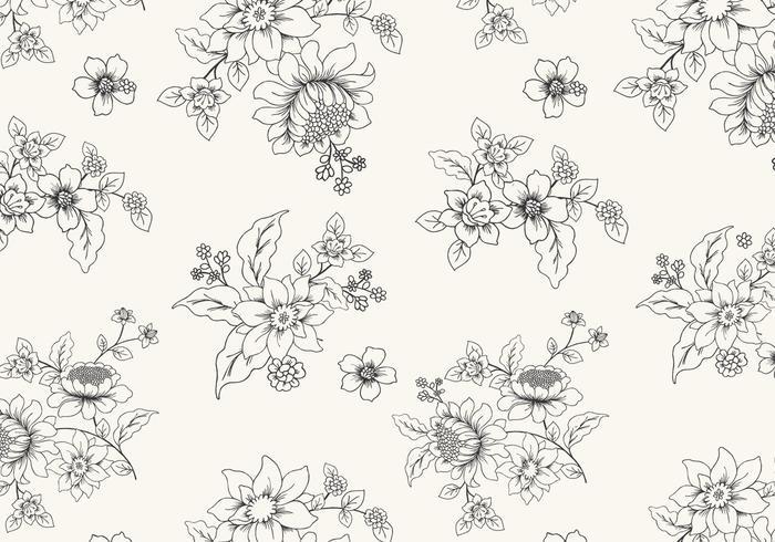 Hand getekende zwart-witte bloemen vector