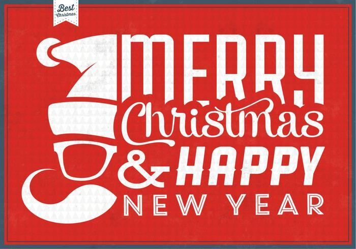 Hipster Santa Christmas Vector Background