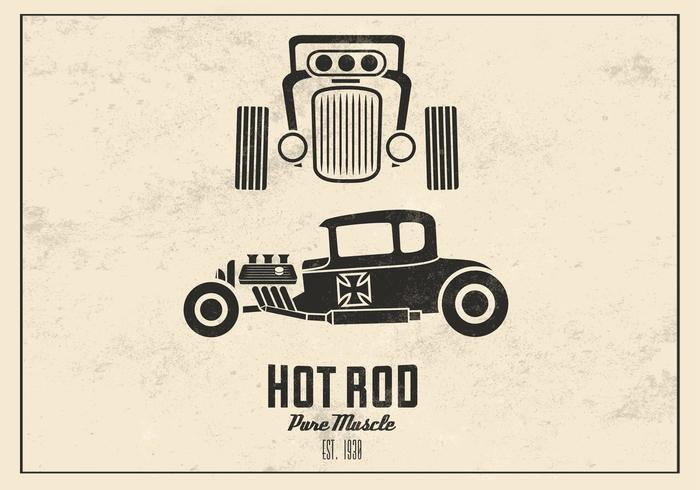 Retro Hot Rod Vector Achtergrond