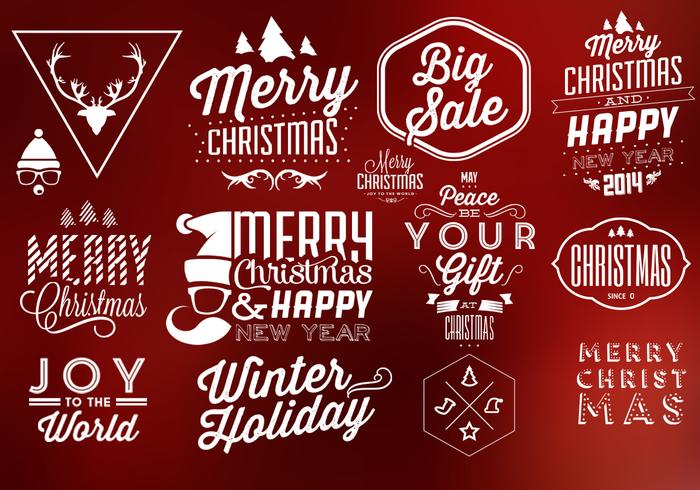 Typografische Kerst Vectorelementen vector