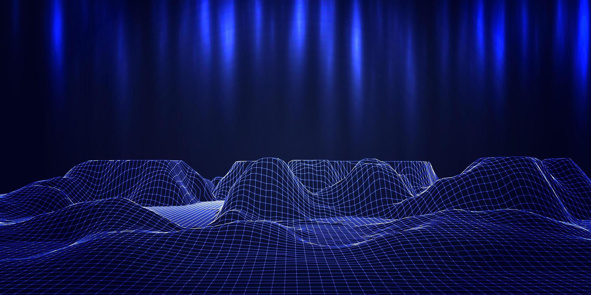 moderne banner futuristische draadframe terrein vector