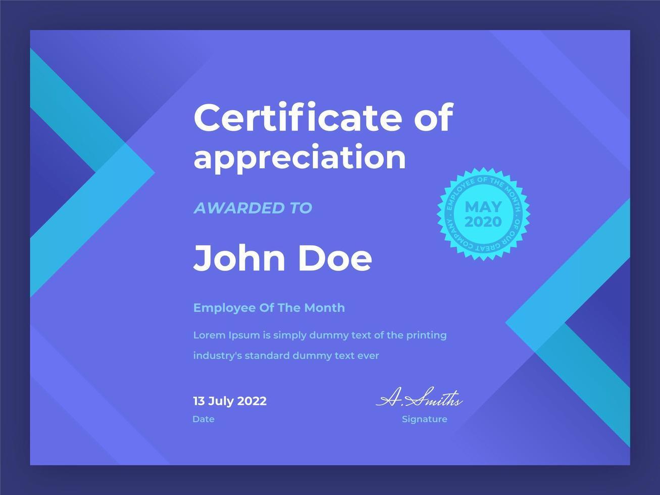 medewerker van de maand geometrisch certificaat vector