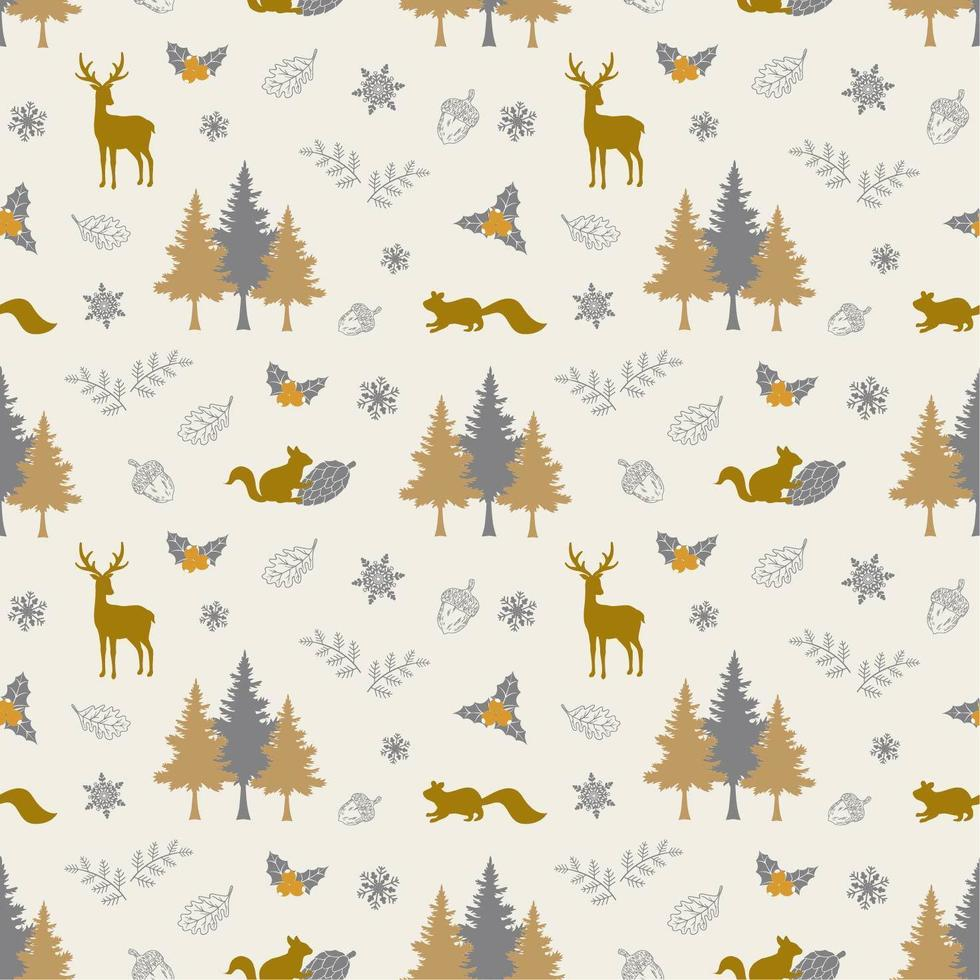 wintervakantie naadloze patroon met dieren in het wild en bos vector