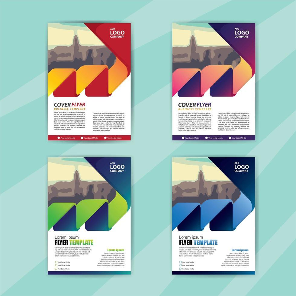 zakelijke folder sjabloon set met kleurovergang zigzag vorm vector