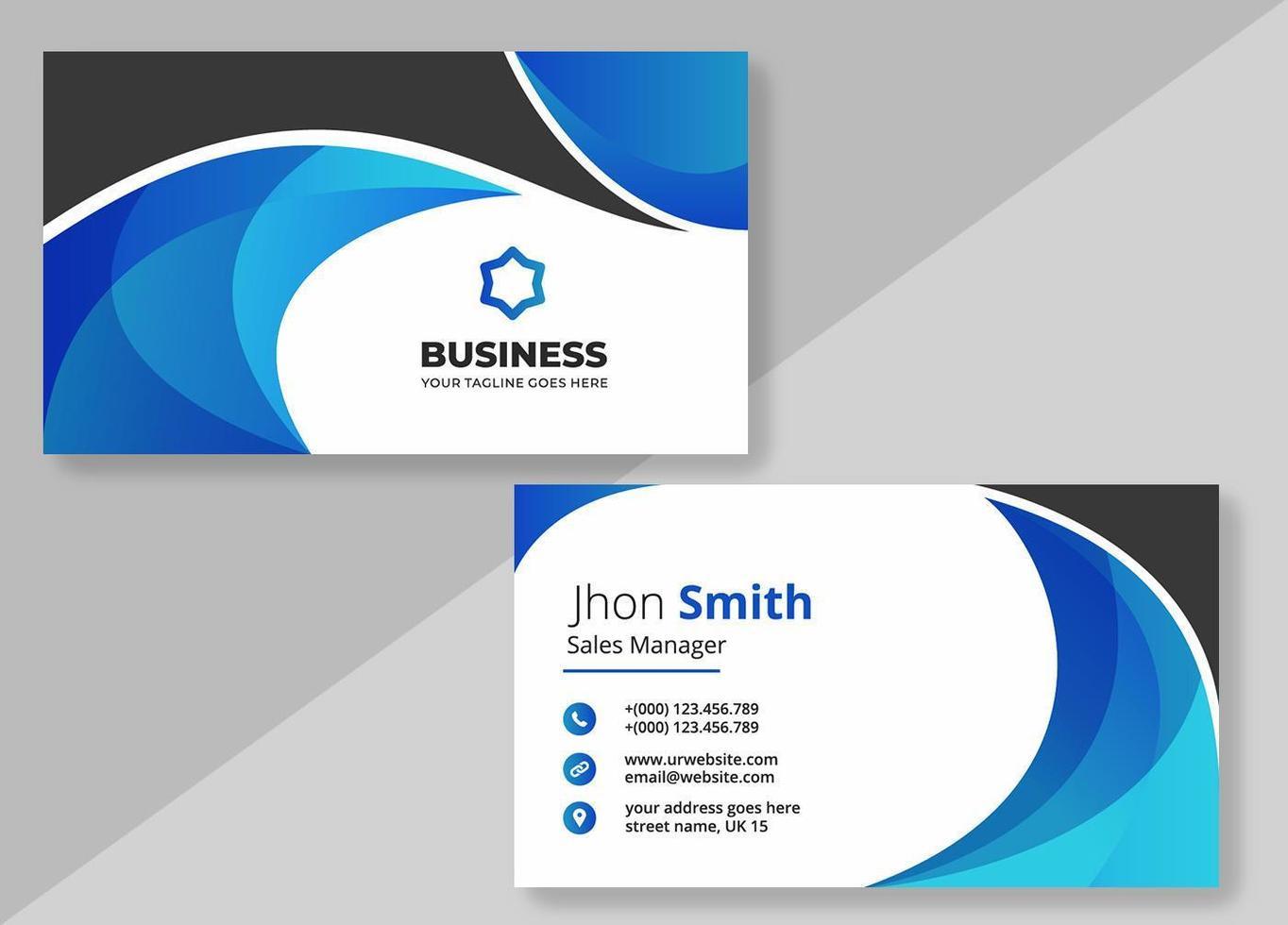 blauw zwart kromme visitekaartje ontwerpsjabloon vector