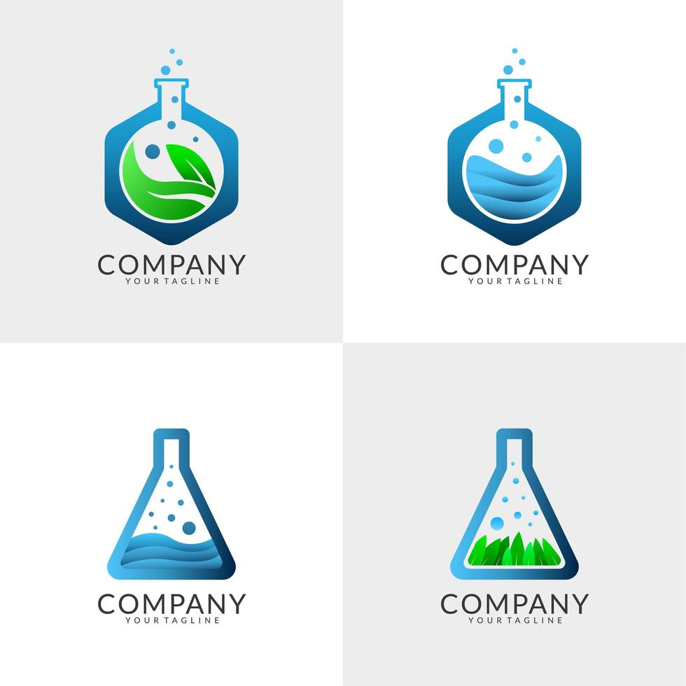 laboratorium logo ontwerpset vector