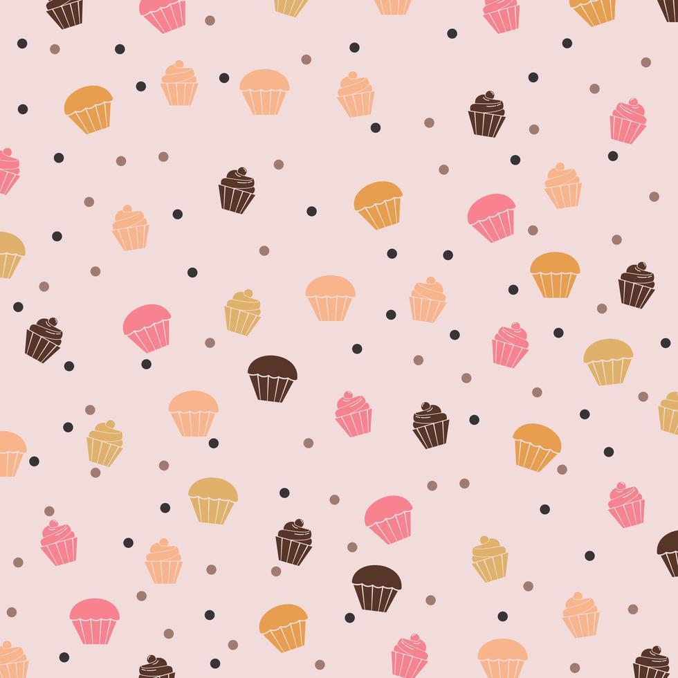zoet en smakelijk voedseldessert cupcake patroon vector