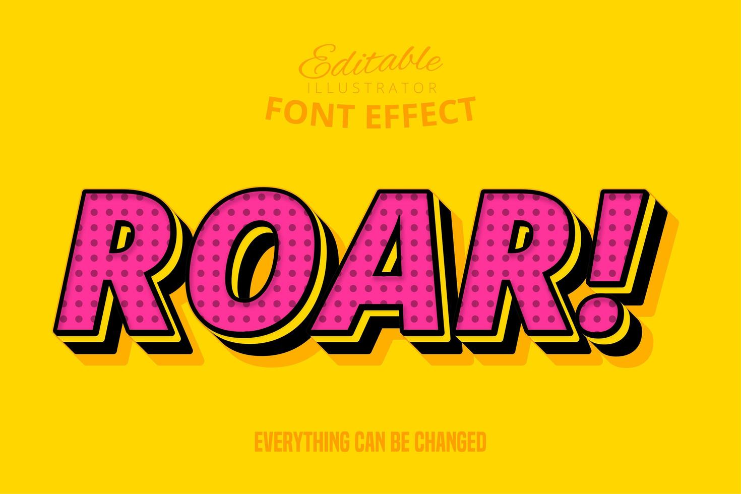 brullende tekst, bewerkbaar lettertype-effect vector
