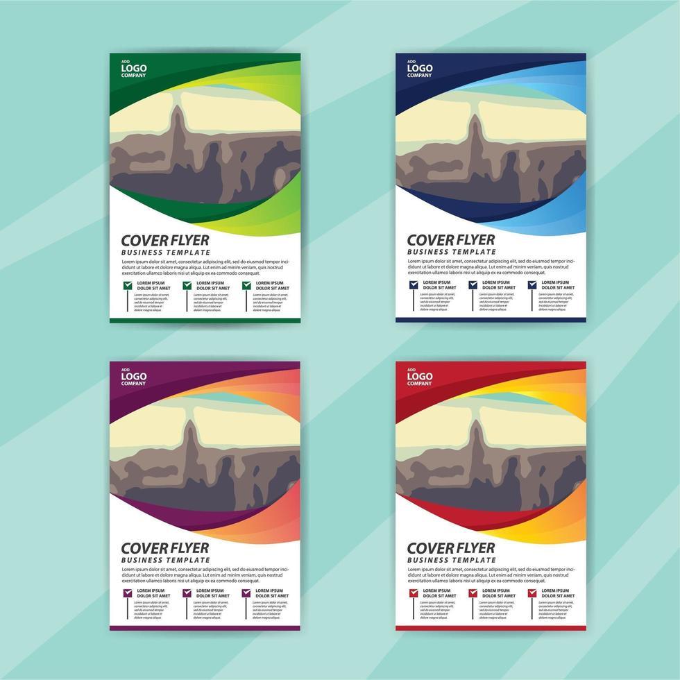 zakelijke folder sjabloon set met kleurrijke gebogen afbeeldingsruimte vector