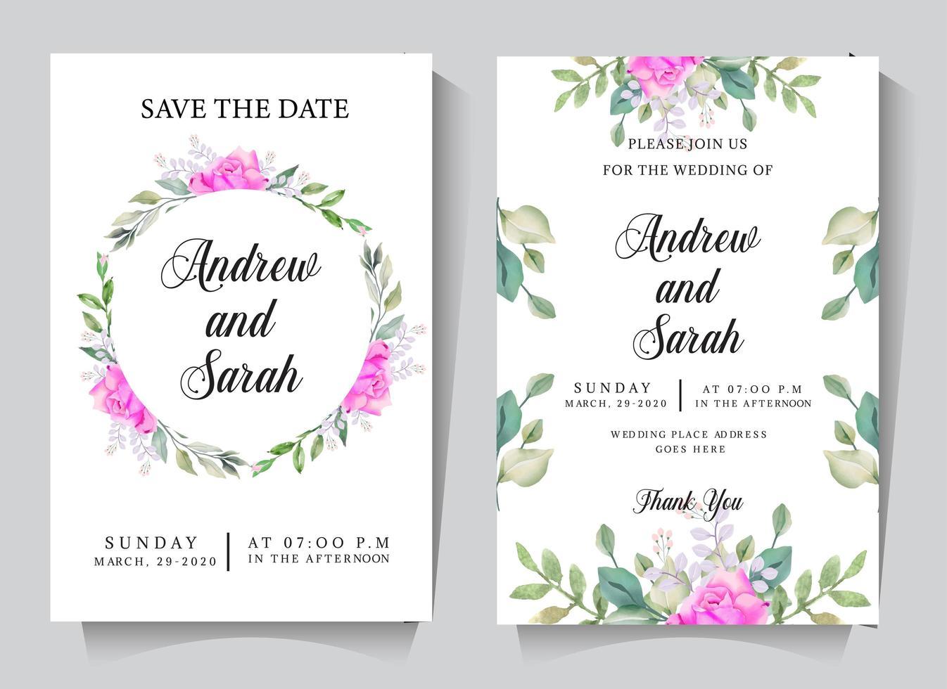 bruiloft uitnodigingskaart ingesteld met cirkel roos frame vector
