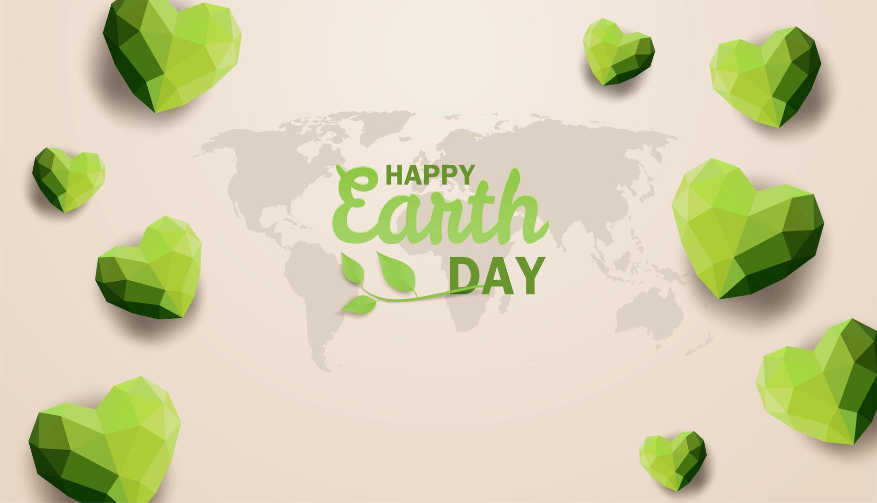dag van de aarde ontwerp met globe kaart en veelhoek harten vector