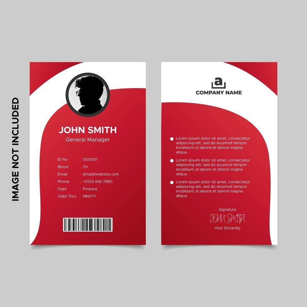 zakelijke gradiënt rode werknemer id-kaartsjabloon vector