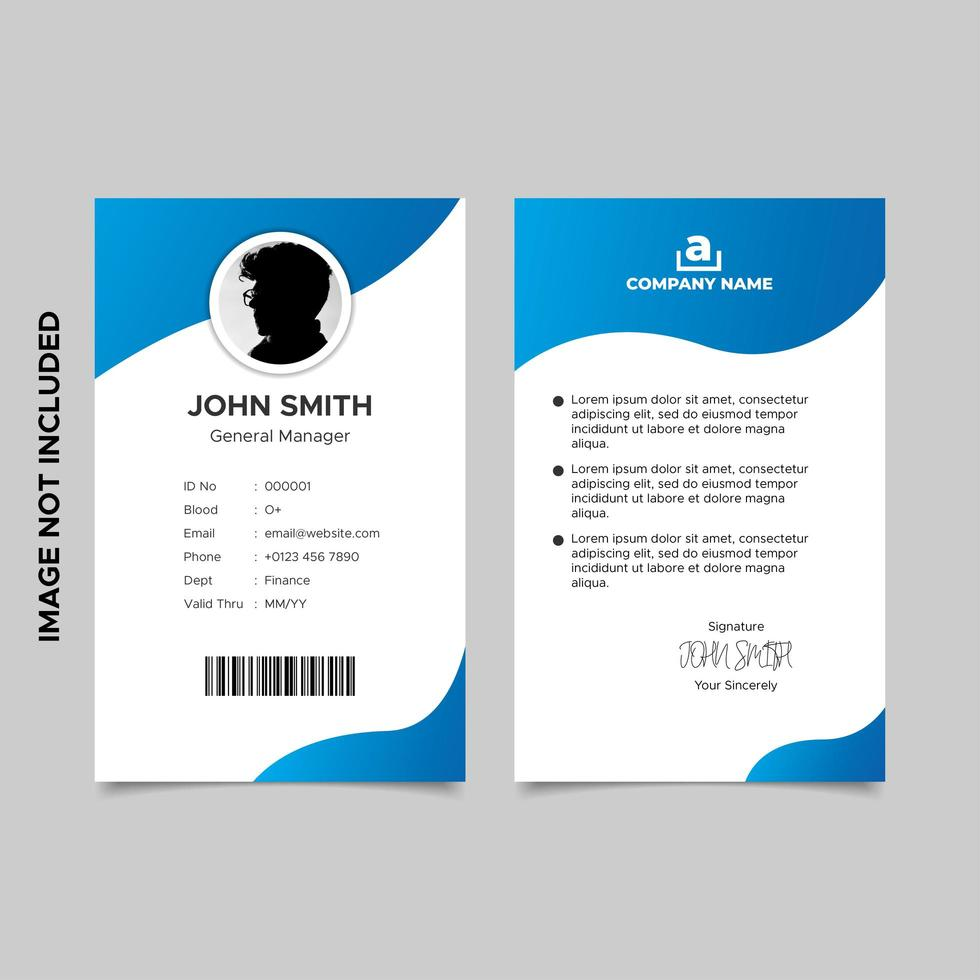 minimale gradiënt blauwe werknemer id-kaartsjabloon vector
