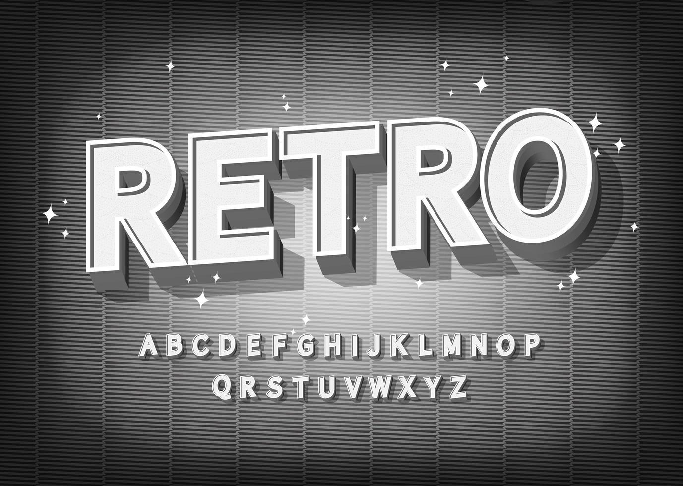 retro lettertype-effect. oude bioscoop stijl alfabet. vector