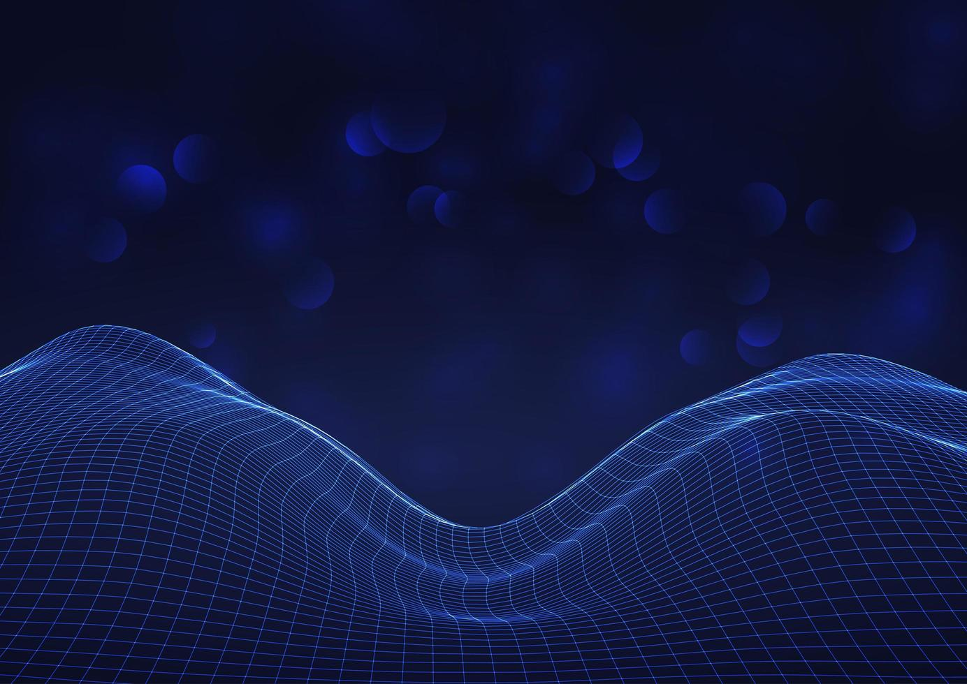 futuristisch stromend raster met bokeh lichten vector