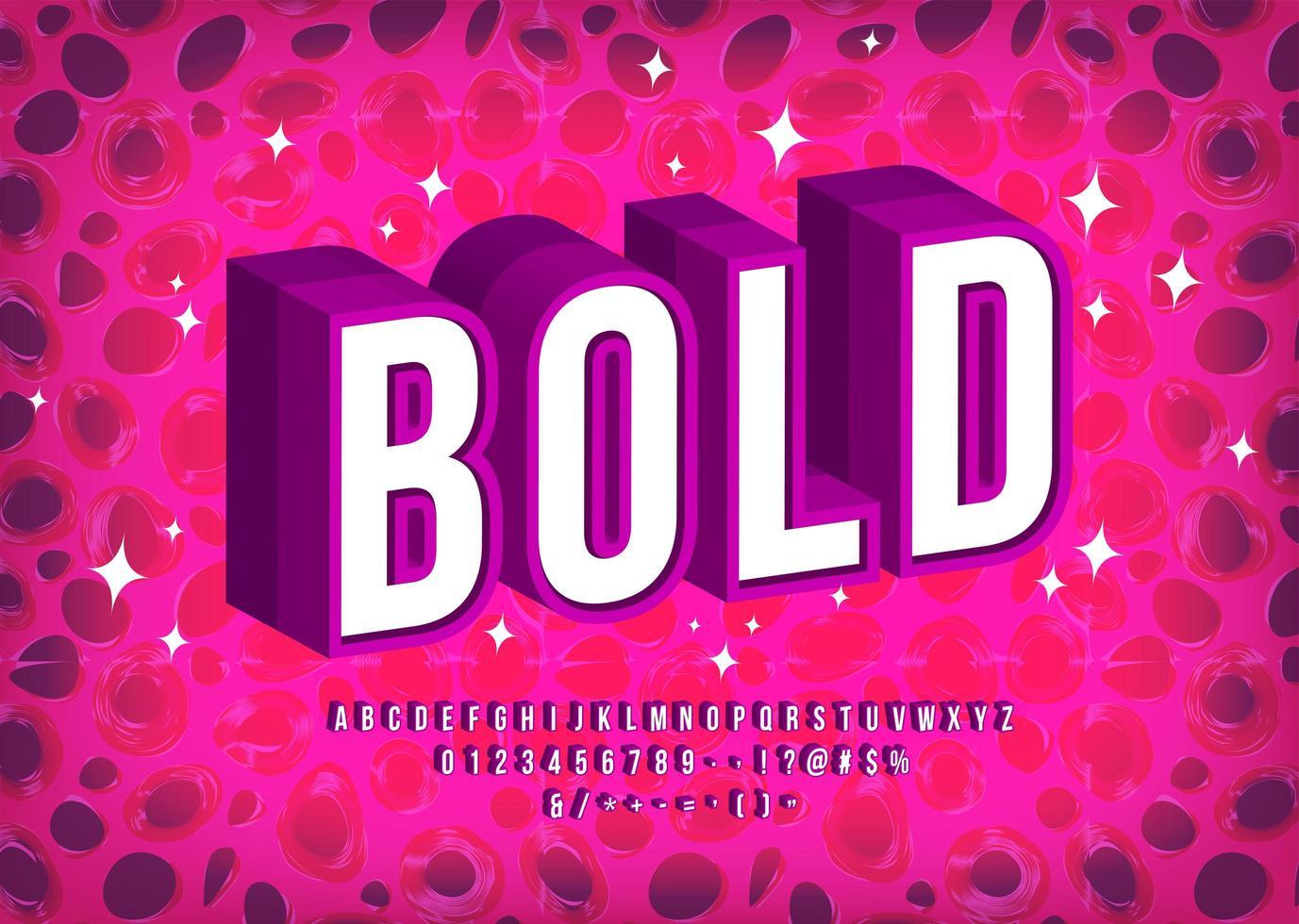vet 3D-lettertype in wit met paarse omtrek vector