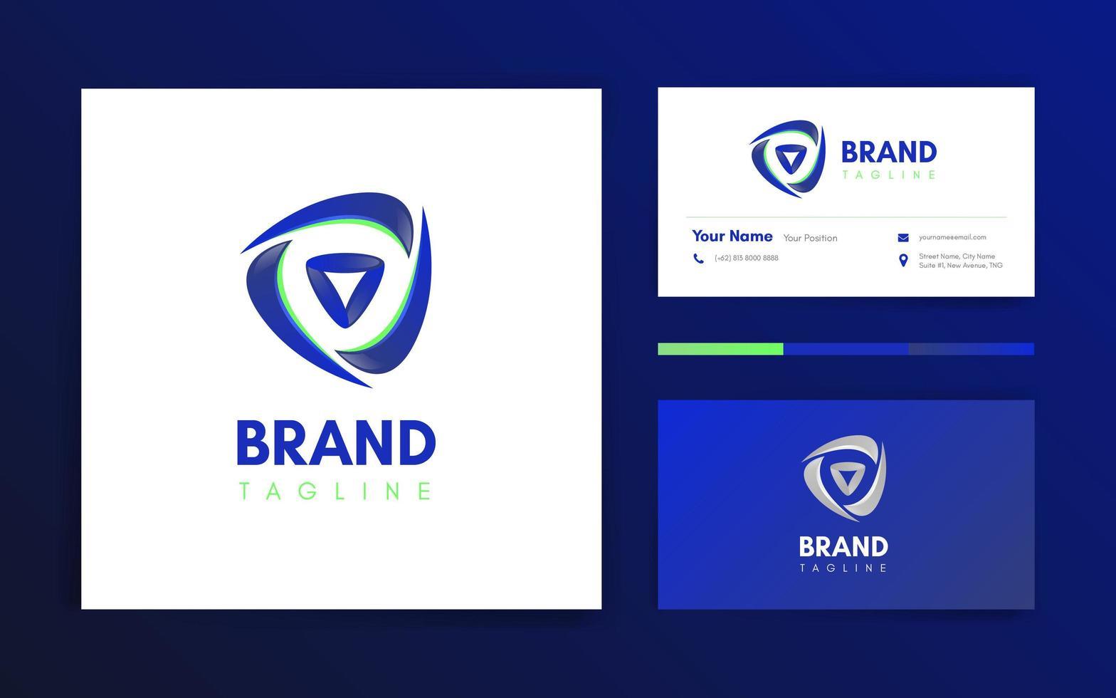 fitness driehoek logo en visitekaartjes sjabloon vector