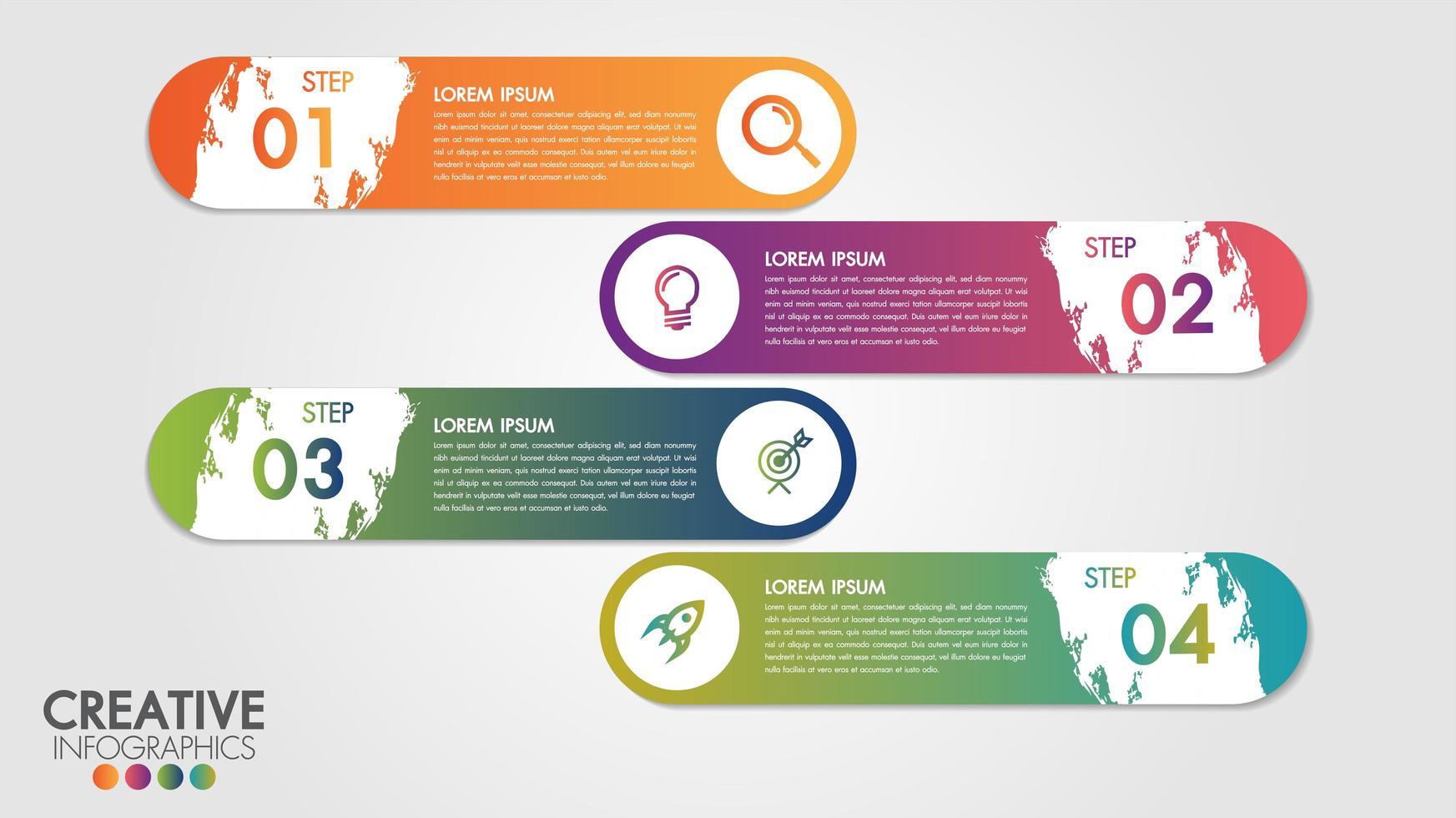 infographic modern ontwerpsjabloon met 4 stappen vector