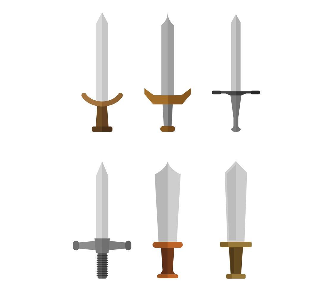 zwaard ingesteld op wit vector