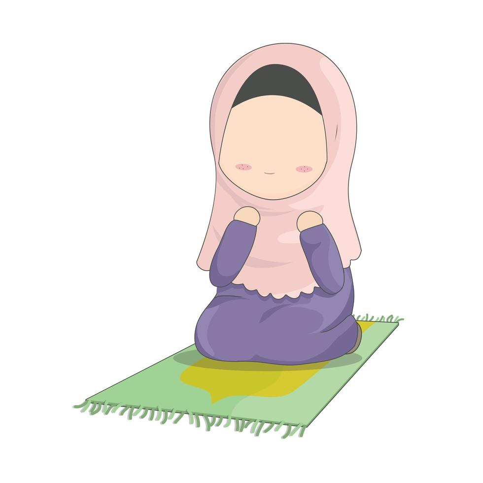 meisje dat op mat bidt vector