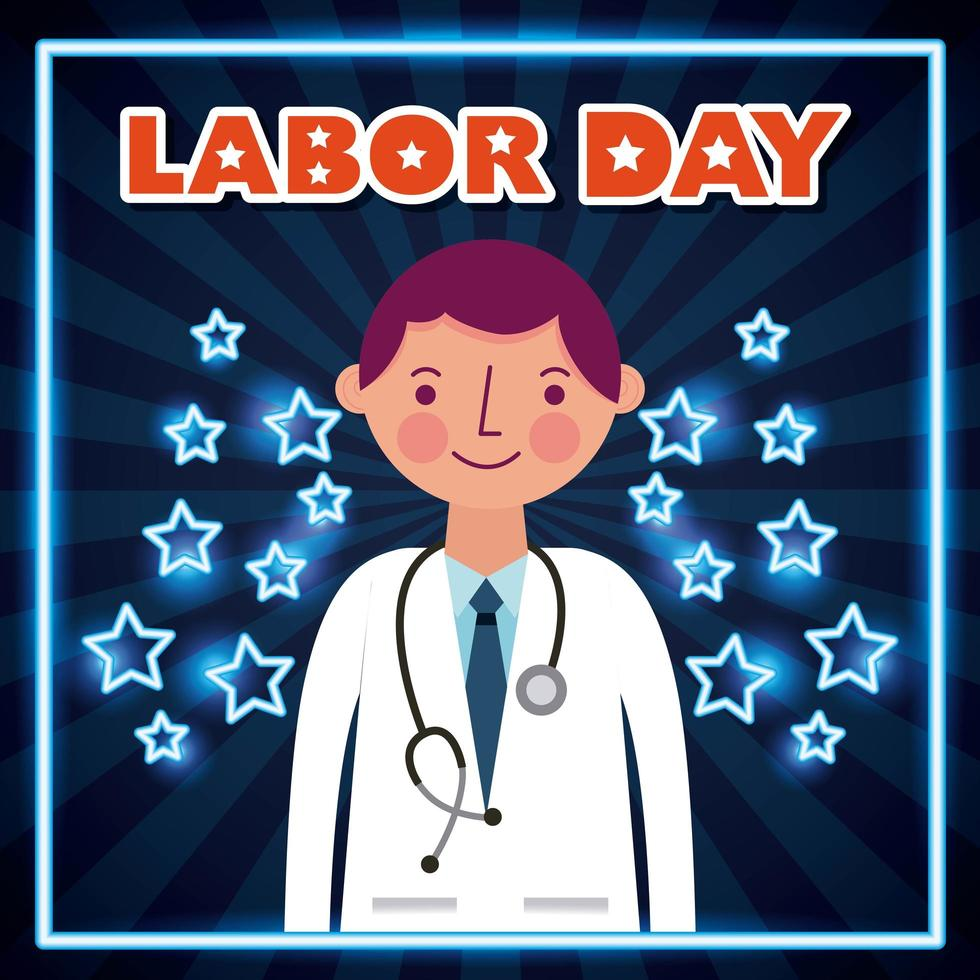 dag van de arbeid poster met arts vector