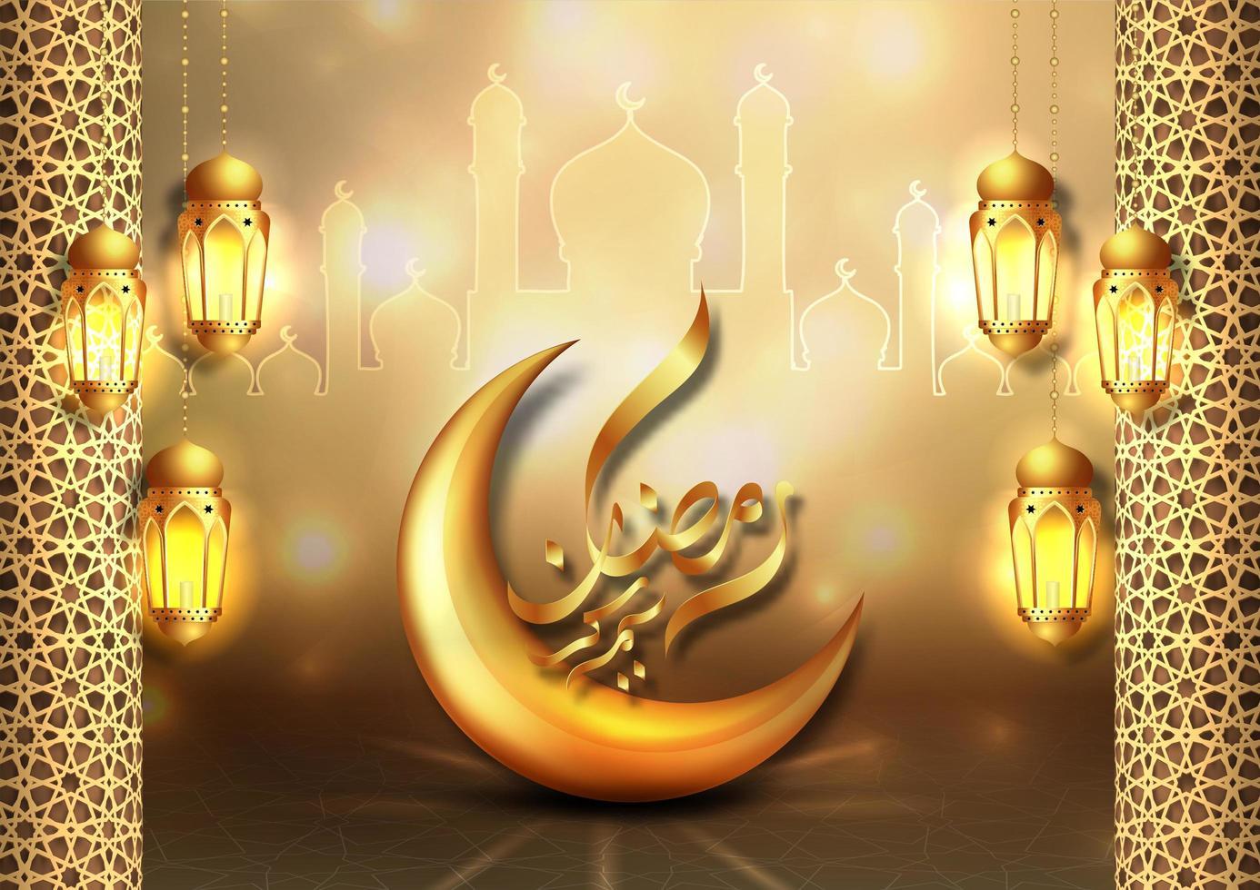 gouden maan ramadan kareem wenskaart ontwerp vector
