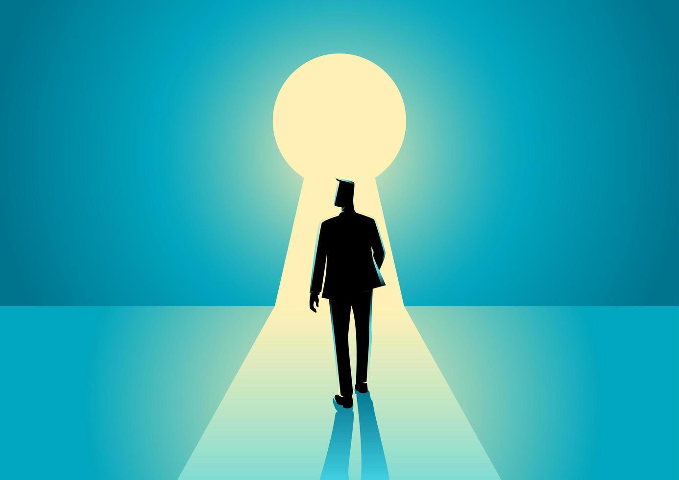 zakenman silhouet staande voor sleutelgat vector