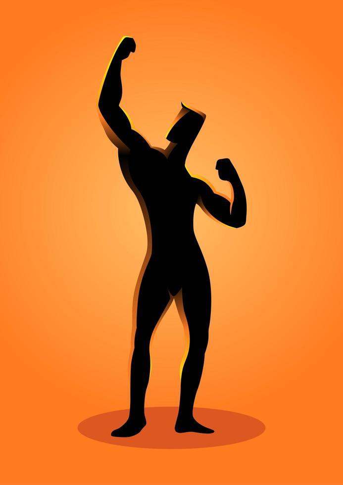 silhouet bodybuilder poseren met één arm in de lucht vector