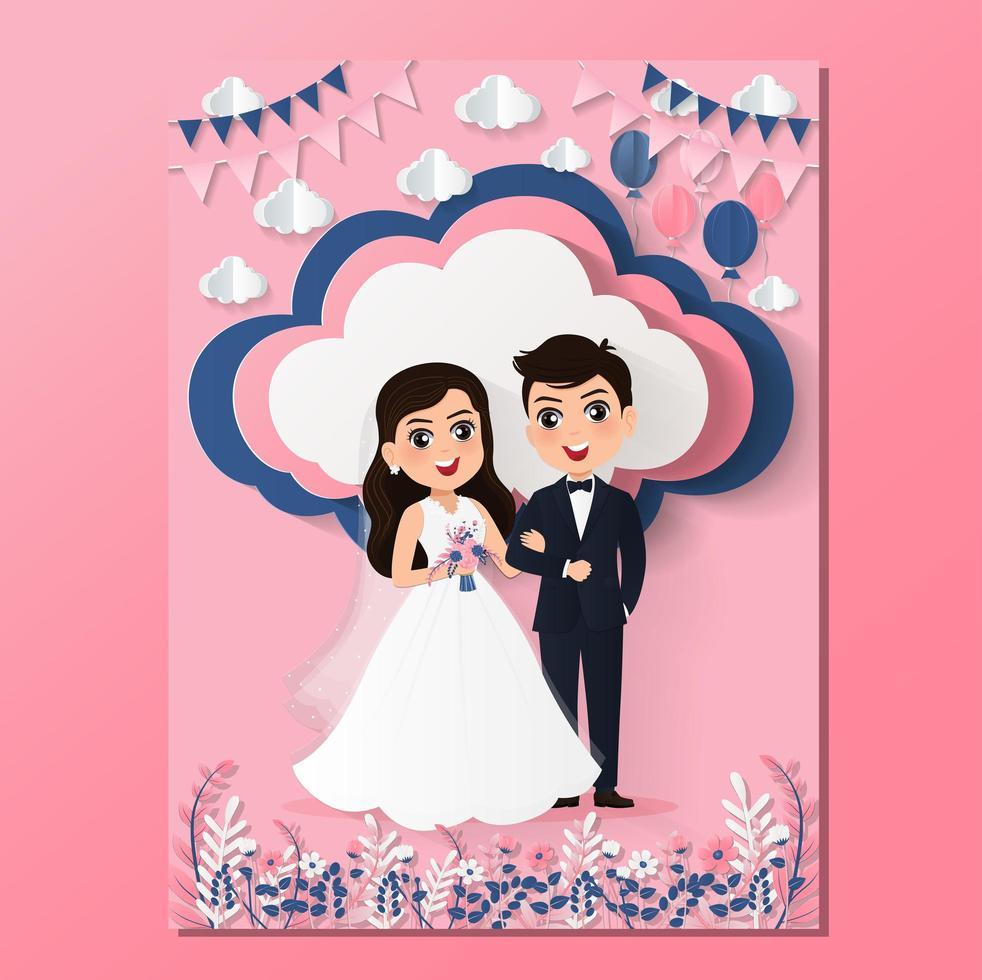 papier gesneden trouwkaart met bruid en bruidegom vector
